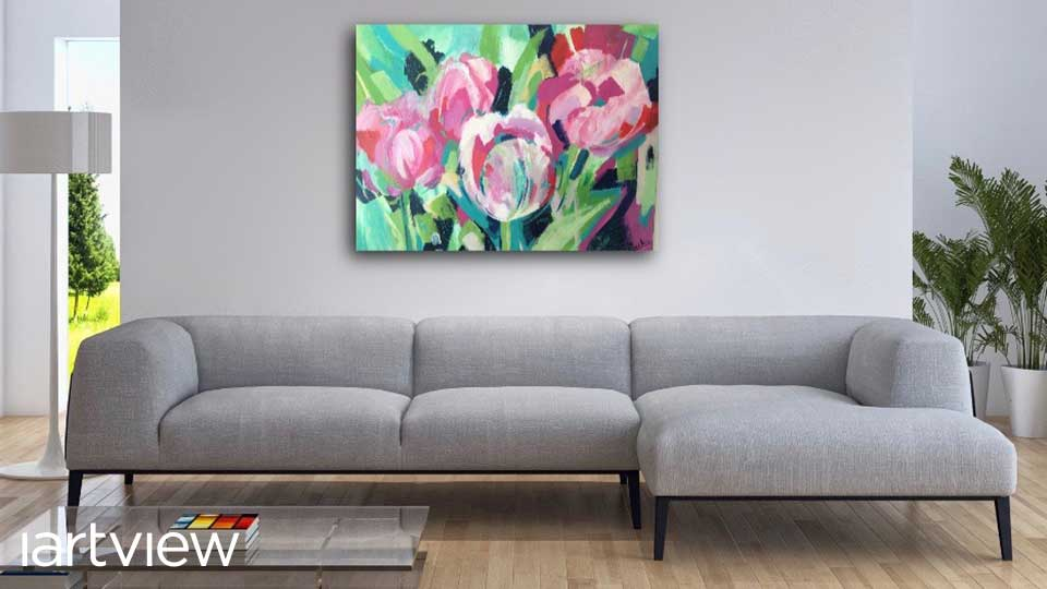 A mockup of Julie's watercolour painting hanging in a living room
