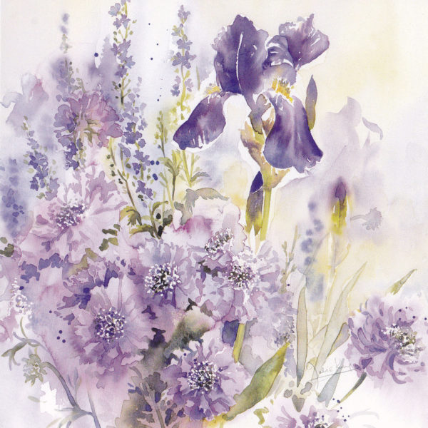 Iris and Scabious, a card by Julie King