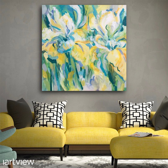 An acrylic painting by Julie King in a living room