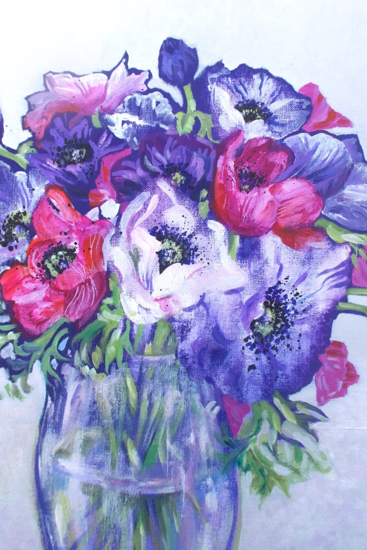 Anemones, an acrylic painting by Julie King
