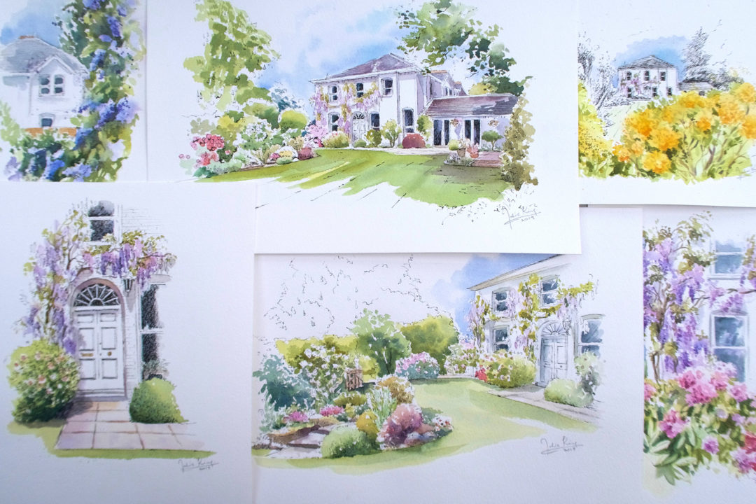 House and Garden Portraits in Pen and Wash