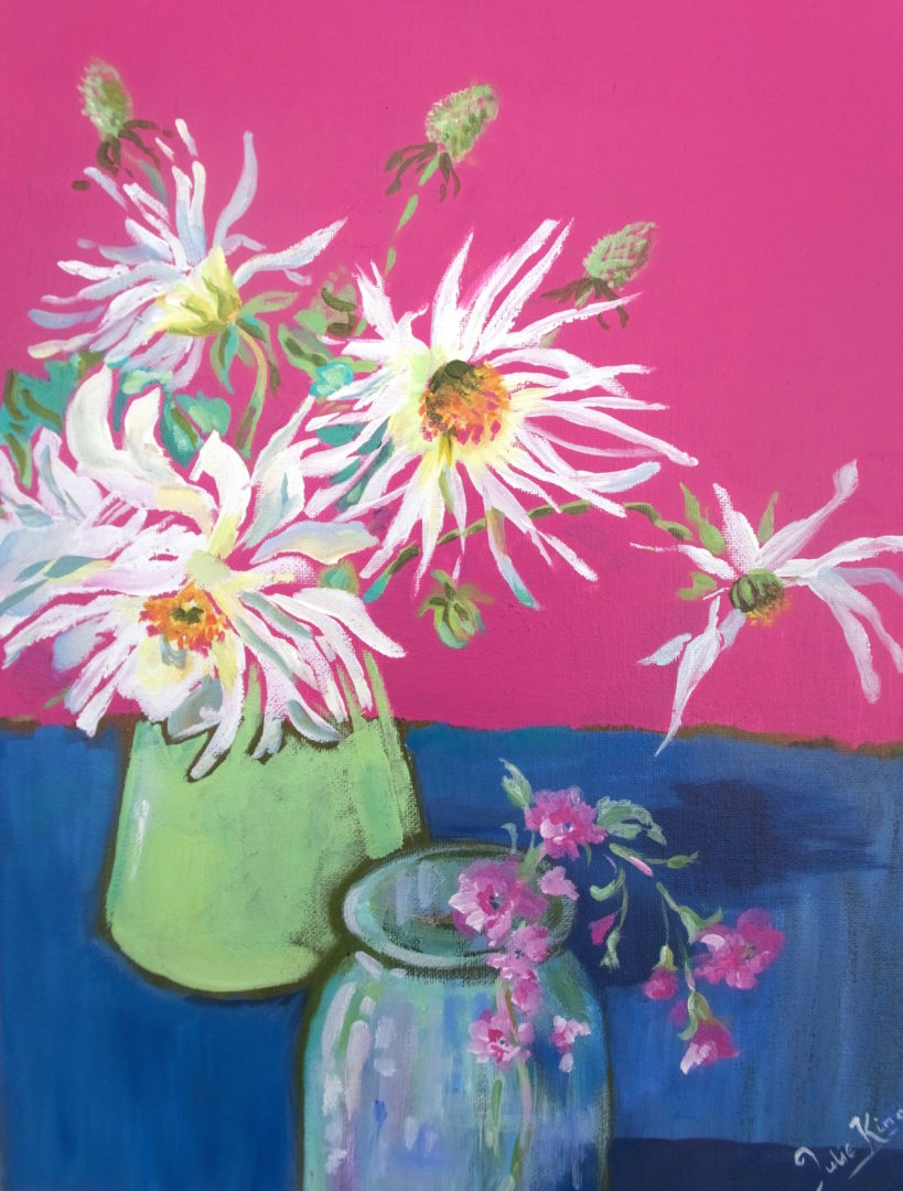 Hrysanthemums, an acrylic painting by Julie King