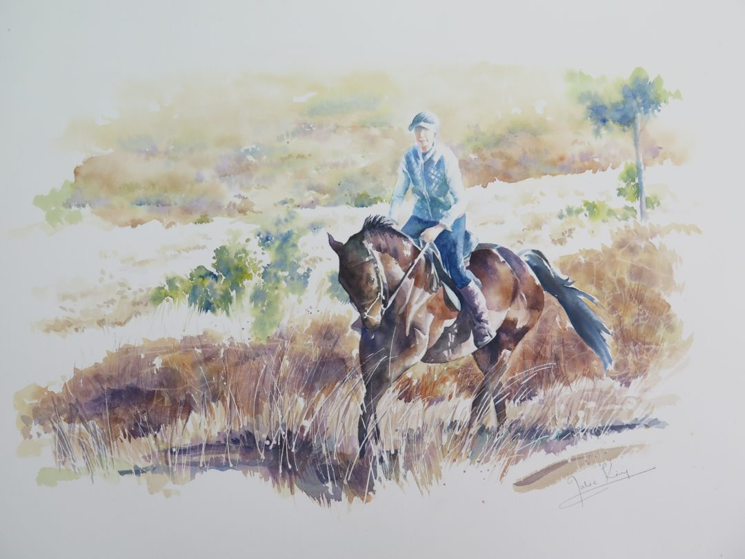 In the Forest, a watercolour painting showing a lady on a horse by Julie King
