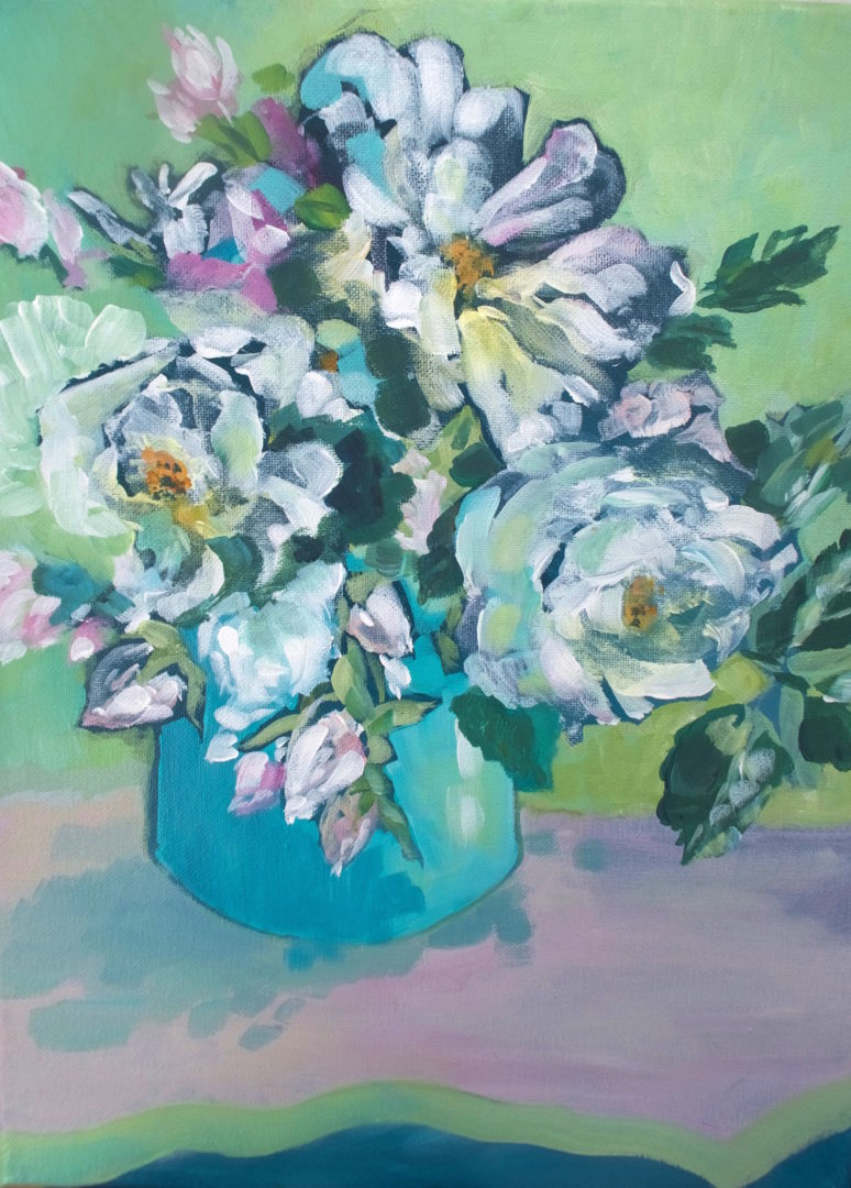 Jug of Roses, an acrylic painting by Julie King