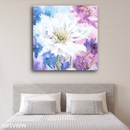 Watercolour Gallery - A watercolour painting hanging above a bed