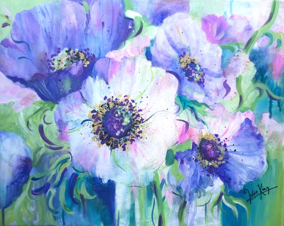 White Anemone, an acrylic painting by Julie King