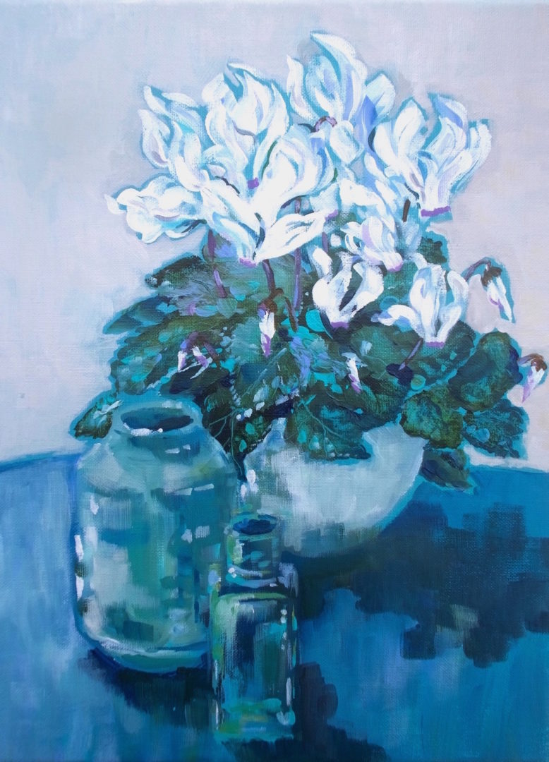 White Cyclamen, an acrylic painting by Julie King