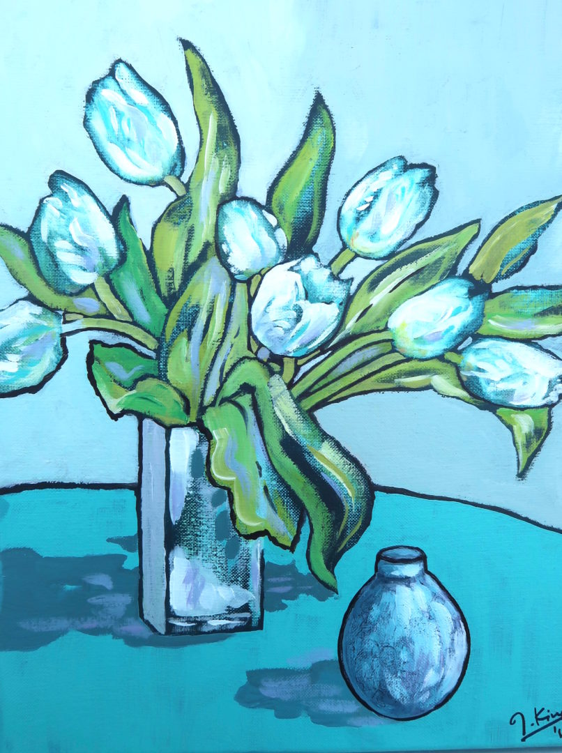White Tulips, an acrylic painting by Julie King
