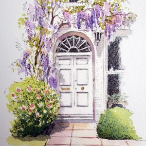 A doorway painted in watercolour and ink