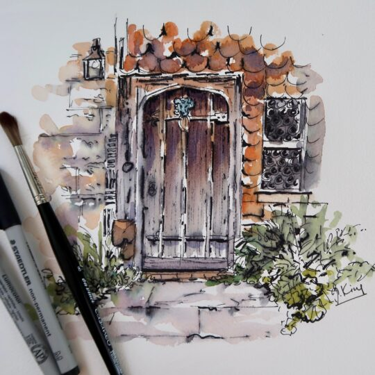 Rustic Door in Pen and Wash